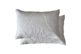 (Beige Paisley) - Brandream Beige Paisley Quilted Pillow Shams Standard Size Pillow Covers Set of 2 100% Cotton