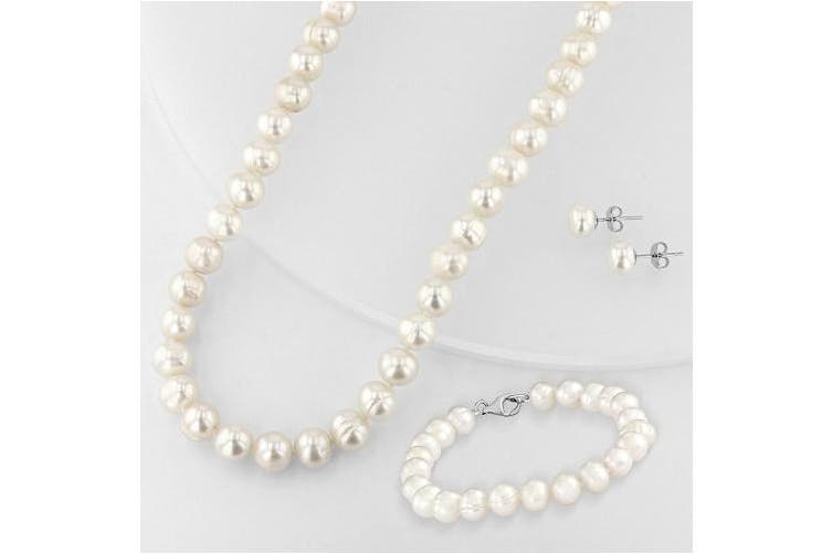 Fresh Water Potato Pearl Sterling Silver Necklace, 46cm , Bracelet, 19cm , and Earring Set