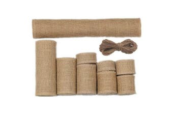 Assorted 9 Sizes 9 Rolls Rustic Burlap Ribbon Hessian Jute Fabric Table Runner Rolls with 20 Metres Jute Twine for Vintage Gift Wrapping Handmade Craft Home Garden Wedding Decoration