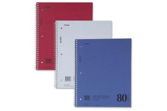 Mead DuraPress Cover Notebook, College Rule, 8 1/2 x 11, White, 80 Sheets