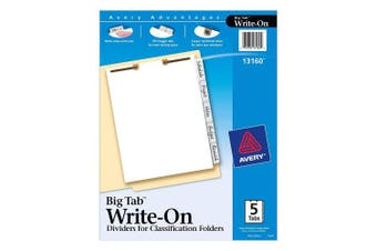 (5 Tab) - Avery Big Tab Dividers for 2-Prong Classification Folders, White, Side Tabs, Set of 5 Big Tab Dividers (13160)