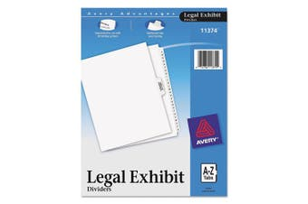 Avery-Style Premium Collated Legal Index Exhibit Dividers, A-Z and Table of Contents, Side-Tab, 22cm x 28cm , 1 Set (11374)