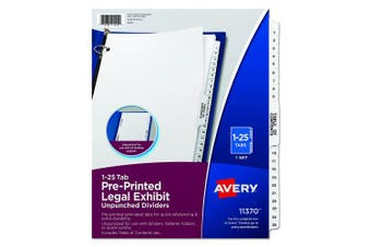 Avery Premium Collated Legal Exhibit Divider Set, Avery Style, 1-25 and Table of Contents, Side Tab, 22cm x 28cm , 1 Set (11370)