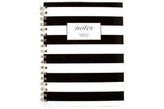(24cm  x 18cm , Black/White Stripes) - Cambridge Business Notebook, Hardcover, 80 Sheets, 24cm x 18cm , Fashion, Black/White Stripe (59012)