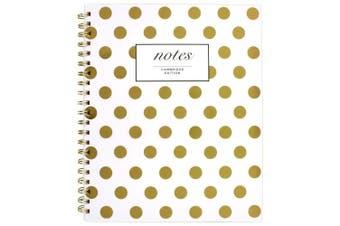 (11 x 20cm  - 2.2cm , Gold Dots) - Cambridge Business Notebook, Hardcover, 80 Sheets, 11 x 8-7/8, Fashion, Gold Dot (59014)