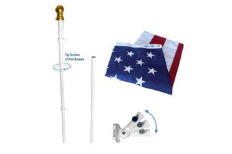 (0.9m by 1.5m Set) - Annin Flagmakers Model 238 American Flag and Flagpole Set Estate kit - 1.8m 2 Section White Spinning Pole that Rotates 360 Degrees with US Flag 0.9m x 1.5m SolarGuard Nylon
