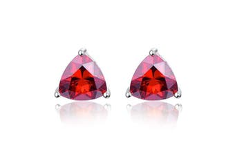 (Red) - Bonlavie 925 Sterling Silver Triangle Shaped Birthstone Stud Earrings for Women with Gift Box