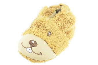(3-6 Months) - Super Soft Baby Girls Boys Brown Plush Slippers Booties Pram Shoes Buck Teeth Bear 12 3-6 Months