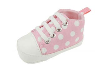 (0-3 Months) - Cute Baby Boys Girls Lace up Trainers Pram Shoes Polka Dot Pink 11 0-3 Months