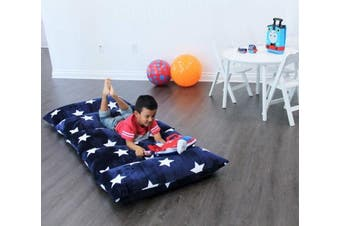 (Queen, Navy W/ Star) - Butterfly Craze Kids Floor Pillow Fold Out Lounger Fabric Cover for Bed and Game Rooms, Reading, Beanbag, Ottoman, Recliner, Chair, Couch Alternative. Blue. Queen Pillows Not Included