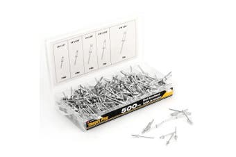 (Original Version) - Tradespro 836341 Aluminium Rivet Assortment, 500-Piece, Multiple Sizes