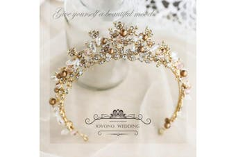 Jovono Wedding Crowns and Tiaras for Adults Bridal Gold Crown Tiara Hair Accessories for Women