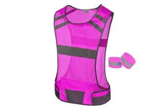 (Medium, Pink) - 247 Viz Reflective Running Vest Gear - Stay Visible & Safe - Ultra Light & Comfortable Motorcycle Reflective Vest - Large Pocket & Adjustable Waist - Safety Vest - Free Bands