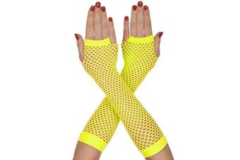 (Yellow) - Neon Fishnet Gloves Dance Party 80s Fingerless - Retro Fancy Dress Accessory (Yellow)