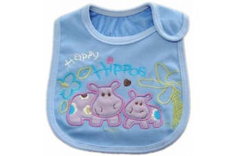 (F- BABY HIPPOS) - BABY BOYS BIBS CHOOSE 1 OF 7 ADORABLE BIBS,FULLY LINED,INNER PVC WATERPROOF 100% COTTON SUITABLE FROM NEWBORN - 3 YEARS (F- BABY HIPPOS)