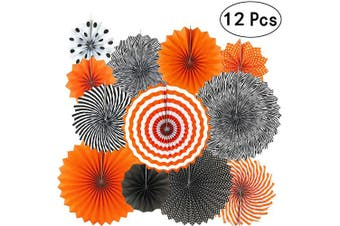 (Paperfan-blackorange) - Black Orange Party Hanging Paper Fans Party Ceiling Hangings Halloween Baby Shower Birthday Wedding Party Decorations, 12pc