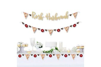 Big Dot of Happiness Rosh Hashanah - Jewish New Year Letter Banner Decoration - 36 Banner Cutouts and ROSH HASHANAH No-Mess Real Gold Glitter Banner Letters