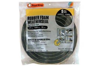 """(1/2""""W,9/16""""T) - Frost King R930H Sponge Rubber Foam Tape 1.4cm , Black"""