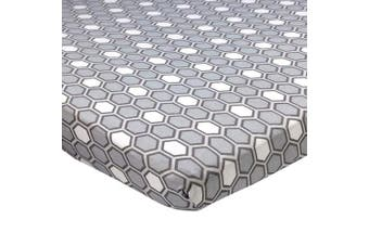 (60cm  x 100cm  (MINI CRIB), Honeycomb Grey) - Abstract Fitted Crib Sheet for Mini and Portable Cribs - 60cm x 100cm - Ultra Soft, 100% Jersey Knit Cotton - Hypoallergenic Nursery Bedding - Honeycomb Grey