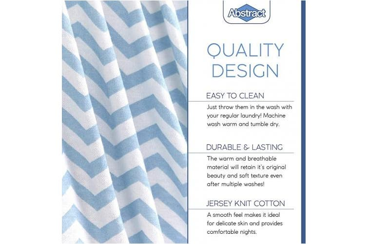 "(60cm  x 100cm  (MINI CRIB), Zigzag Blue) - Fitted Crib Sheets for Portable Crib – Super Soft, 100% Jersey Cotton – 24"" x 38"" – for Boys and Girls, Fits Mini Mattresses and Toddler Beds - Covered Elastic Hem – Blue Zigzag – by Abstract"