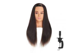 (R71906LB0218H) - Hairingrid Mannequin Head 60cm - 70cm 100% Human Hair Hairdresser Cosmetology Mannequin Manikin Training Head Hair and Free Clamp Holder (R71906LB0218H)