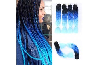 (BHE-A48-4) - Ombre Jumbo Braiding Hair Extensions 4Pcs/Lot 100g/pc Kanekalon Synthetic Fibre for Twist Brading Hair(Black-Royal Blue-Light Blue)