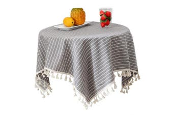 (90cm  x 90cm , Grey Stripe) - Bettery Home Stripe Tassel Tablecloth Solid Cotton Linen Square Table Cover for Bedside Tabletop Decoration 90cm x 90cm Grey Stripe