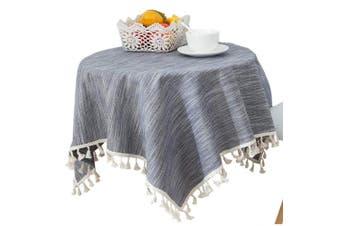 (100cm  x 140cm , Dark Blue) - Bettery Home Solid Cotton Linen Tassel Tablecloth Rectangular Table Cover for Tabletop Decoration 100cm x 140cm Dark Blue