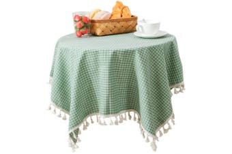 (140cm  x 180cm , Green Checkered) - Bettery Home Grid Pattern Tassel Tablecloth Solid Cotton Linen Rectangular Table Cover for Tabletop Decoration 140cm x 180cm Green Chequered