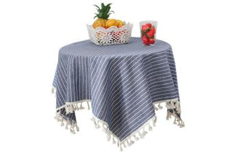 (120cm  x 120cm , Dark Blue Stripe) - Bettery Home Stripe Tassel Tablecloth Solid Cotton Linen Square Table Cover for Square Tea Tabletop Decoration 120cm x 120cm Dark Blue Stripe