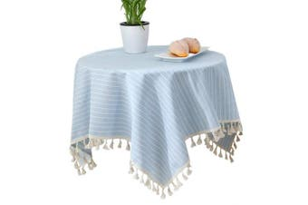 (140cm  x 220cm , Sky Blue Stripe) - Bettery Home Stripe Tassel Tablecloth Solid Cotton Linen Rectangular Table Cover for Tabletop Decoration 140cm x 220cm Sky Blue Stripe