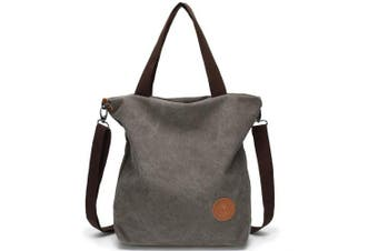 (Grey) - Canvas Shoulder Bag Casual Handbag Crossbody Bag for Women ladies, Large Size and Multi-function Pocket Design for Travel School Work Shopping Daily use (Grey)