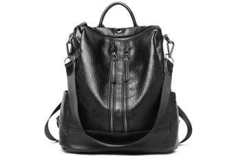 (2-black) - Women Backpack Purse Leather Fashion Travel Casual Detachable Ladies Shoulder Bag