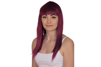 (Wine Red) - Ladies Long Straight Wig Fancy Dress Accessory Cosplay Party Wigs (Wine Red)