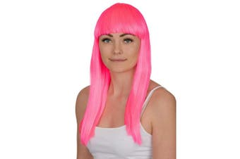 (Neon Pink) - Ladies Long Straight Wig Fancy Dress Accessory Cosplay Party Wigs (Neon Pink)