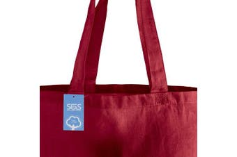 (Red) - Simply Green Solutions Blank 100% Cotton Fabric Reusable Cloth Bags - Set of 5 - Tote Bags for School, Tote Bags for Grocery Shopping, Fun Promotional Items or Eco-Friendly Reusable Bags