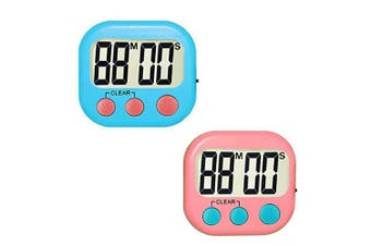 (2) - Kitchen Timer Digital Cooking Timers Clock, ON/OFF Simple Operation, Big Digits, Loud Alarm, Magnetic Backing Stand, Countdown Up Minute Second Timers for Kids Games Exercise Office, Blue, Pink(2Pack)