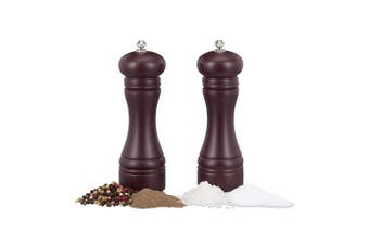 (Chocolate Brown) - Relaxdays Manual Wooden Spice Mill, Set of 2, Ceramic Grinding Mechanism, Small, H x W x D: 18 x 6 x 6 cm, Chocolate Brown