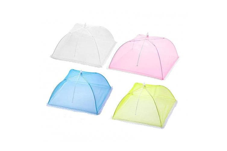 ((White,red,green,blue)) - Large Pop-up Mesh Food Cover Tent-Set of 4 Reusable and Collapsible Umbrella Screens Pefect for Keep Out Flies, Bugs, Mosquitos (White,Red,Green,Blue)