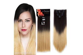 (70cm -Straight, Straight, Dark Brown to Baby Blonde) - 8PCS Clip in Hair Extensions Straight Wavy Curly Full Head Women Colourful Highlight Ombre Hairpiece -70cm Straight,Dark Brown to Baby Blonde
