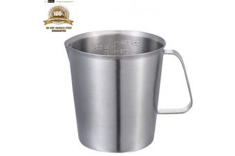 (1000ML) - 1000mL Measuring Cup, KSENDALO Stainless Steel Measuring Cup with Marking with Handle, 32 Ounces (1.0 Litre, 4 Cup)