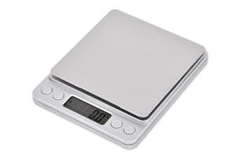 Ace Select Weight Scale Stainless Steel Kitchen Scale 2000g x 0.1g Digital Scale with LCD Display and 2 Clear Trays