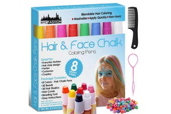 Hair and Face Chalk Pens - 8 Colours - Safe for Hair and Skin - Add Flair of Colourful Streaks to Your Hair and Face (Plain)
