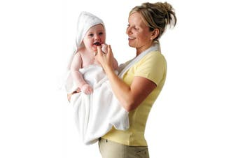 (White) - ClevaMama Apron Hooded Baby Towel - Bath Towel With Hood, Soft Cotton Bath Wrap, White