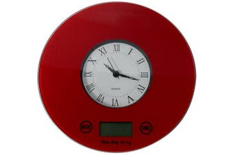 (Red) - IFRESH Digital Kitchen Scale with Quartz Clock, Red
