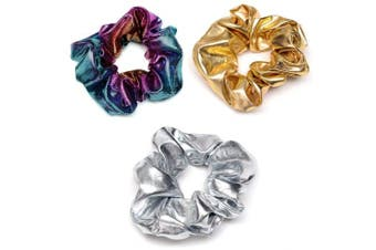 (Hair Scrunchies Set 1) - ACCGLORY Scrunchies Set Glitter Ponytail Holder for Women and Girls, Metallic Hair Tie Set (Hair Scrunchies Set 1)