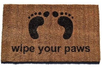 (Wipe Your Paws) - Imports Decor Vinyl Back Coir Doormat,Wipe Your Paws, 46cm by 80cm