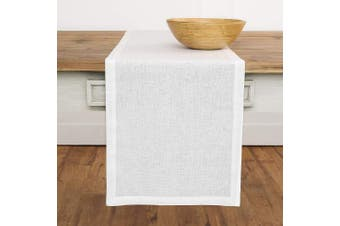 (36cm  x 300cm , White) - Solino Home 100% Pure Linen Table Runner – 36cm x 300cm Athena, Handcrafted from European Flax, Natural Fabric Runner – White