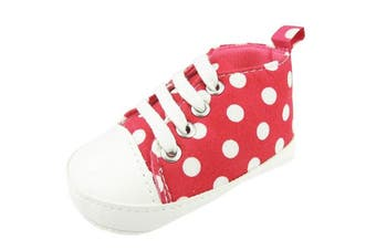 (6-9 Months) - Cute Baby Boys Girls Lace up Trainers Pram Shoes Polka Dot Red 13 6-9 Months