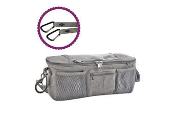 (Grey Buggy Organiser) - BTR Pram Buggy Organiser Bag & Pram Organiser Bag with Mobile Phone Pocket Holder & Zipped Lid. Plus 2 Pram Hooks. Grey Pushchair Organiser